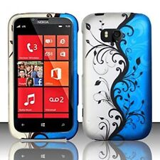 For Nokia Lumia 822 Rubberized HARD Case Snap On Phone Cover Blue Vine Flower
