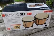 Bongo-Trommel -Set - Echtholz und Naturfell - Größe: 6