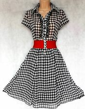 SIZE 8 WW2 30s 40s LANDGIRL VINTAGE STYLE TEA DRESS MONOCHROME BLACK# EU 36 US 4