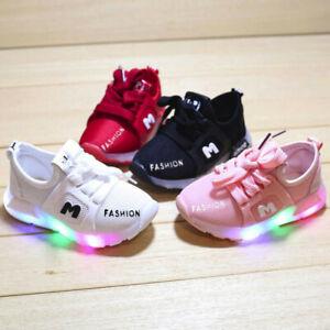 Children Baby Boys Girls Kids Running Shoes Sneakers LED Light Up Luminous Sport