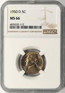 1950-D Jefferson Nickel 5c NGC MS66