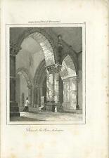 ANTIQUE CHURCH OF SAN PIETRO NORTHAMPTON ENGLAND INTERIOR ARCHITECTURE OLD PRINT