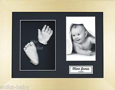 Nouveau Kit moulage bébé cadeau unique silver main & pieds en or brossé boîte 3D Cadre
