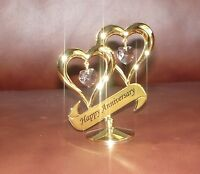 HAPPY ANNIVERSARY~HEARTS~24K GOLD PLATED FIGURINE WITH BEST~*~AUSTRIAN CRYSTALS~