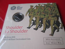 2016 First World War 100th Ann. The Army BUNC £2 Two Pound Coin NEW Sealed