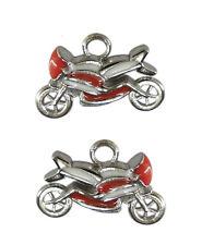 2 breloques pendentifs moto en métal argenté émaillé rouge et blanc-bc215