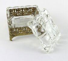 Vintage Gilded Metal Filigree Floral w/ Scallop Glass Insert Jewelry Trinket Box