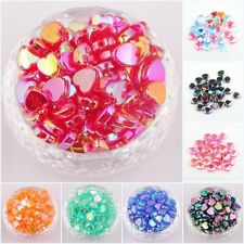 200pcs Heart Shaped Acrylic Spacer Beads Charms Making Jewelry AB Color 8mm 9mm