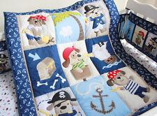 7PCS Boy Baby Bedding Set Cute Dogs Nursery Quilt Bumper Sheet Crib/Cot Skirt 08