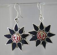 Tribal Tibetan sterling silver earrings coral handmade nepalese hook tops GLE16