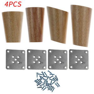 4 Wood Furniture Stand Leg Right Angle/Slant Cone Tapered Stand Iron Plate Screw