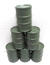 G SCALE OIL DRUMS MILITARY ARMY  GREEN 1/24 DIORAMA MODEL TRAIN CARGO SET OF 6