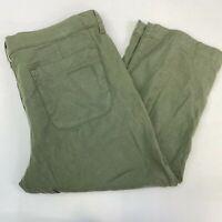 NYDJ Capri Pants Women's 12 Green Flat Front Slash Pocket Linen Tencel Spandex