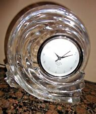 "LENOX CRYSTAL AZAR COLLECTION SWIRL SNAIL SHAPE QUARTZ 6"" TALL MANTEL CLOCK"