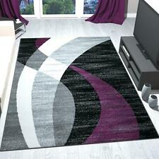 Teppich Schwarz Grau Weiß Lila Kurzflor