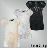 Ladies Firetrap Short Sleeves Crew Jersey Drop Graphic T Shirt Sizes 8-18