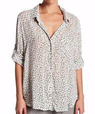 NEW CLOTH & STONE WOMEN SzL BUTTON DOWN LONG SLEEVE SHIRT PRINTED CLOVER