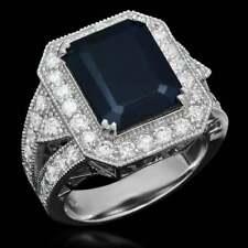Beautiful Royal Blue Emerald Cut 6.20CT Sapphire & Brilliant Cut CZ Halo Ring