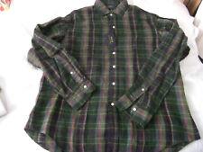 Polo Ralph Lauren Men's 100 Linen Size XL Evergreen/purple Plaid Sport Shirt