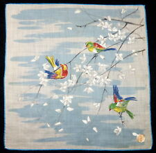 "Vintage 11"" Fine Swiss Cotton Doerig Handkerchief Printed Birds in Flower Tree"
