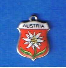 Vintage AUSTRIA Edelweiss Enamel Travel Shield SILVER BRACELET CHARM