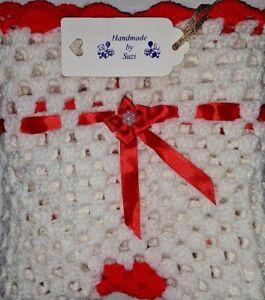 """LOVELY HAND CROCHET BABY DOLL BLANKET: RIBBON FLOWERED RED & WHITE  (18"""" x 18"""")"""