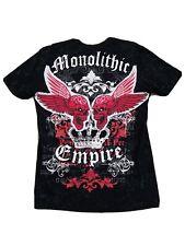 RAWBLUE Men's Monolithic Empire Patched & Painted Black T-shirt size L
