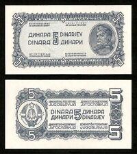 YUGOSLAVIA 5 Dinara *** 1944 *** P.49a (Thick paper) *** UNC (NEUF)