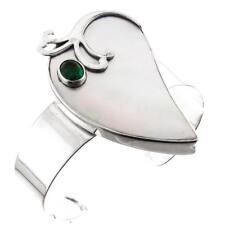 DESIGNER MOTHER OF PEARL SHELL GREEN QUARTZ 925 STERLING SILVER CUFF bracelet