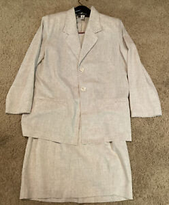 Vintage Sag Harbor Beige 2pc Dress W/Jacket Set SZ 8P/10