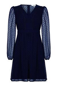 NEW Yumi Dobby Spot Chiffon Dress, Navy - 14