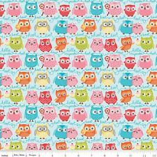 FLANNEL by 1/2 Yard - Riley Blake Fabric ~ Tree Party Multi-Color Owls in Blue