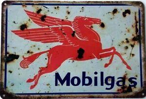 MOBILGAS Rustic Metal Tin Sign Vintage Rustic Garage,  Bar & Man Cave