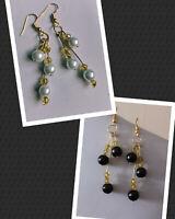 Triple Bead Drop Earrings Pearl Glass White Black Gold Womens handmade hooks