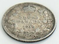 1914 Canada Five 5 Cent Small Silver Circulated Canadian George V Coin K002