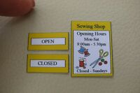 1/12th dolls house - NEW STYLE SEWING SHOP SIGNS - SG