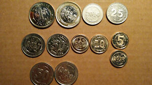 ZIMBABWE, 5 PIECE BOND COIN SET, 0.05 TO 1 DOLLAR