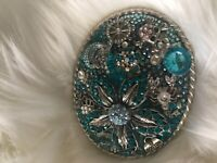 Large Embellished Belt Buckle Crystals Beads Doctors Bag Crab Skull Horseshoe Do