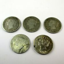 Lot of Five Canada Silver 5 Cent Coins 1880-H 1880-H 1882 1890 1897 Canadian 5C