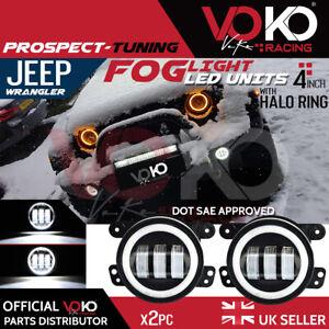 NEW UK 2PCS 30W 4'' LED Fog Light Lamps White DRL 6000K Jeep Wrangler JK VKOV2