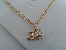 9ct Gold  Solid Welsh Dragon Double Sided Charm & Curb Bracelet. Hallmarked.4.5g
