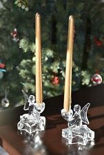 Vintage Angel Candle Holders CHRISTMAS LE Smith Glass Crystal Pair with Candles