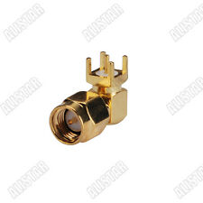 10 X SMA Male Plug right angle thru hole PCB Mount Solder goldplated connector