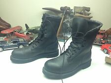 ADDISON LACE UP BLACK LEATHER STEEL TOE MILITARY MOTORCYCLE BOSS WORK BOOTS 9M
