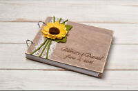 Rustic Wedding Guest Book, Sunflower Wedding Guestbook Album, Wooden Guest Book
