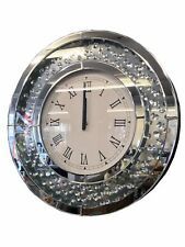 Round Circle Floating Crystal Jewel Gem Mirror Wall Hanging Clock Diamante