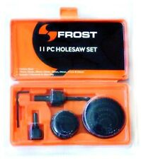 FROST 11 Piece HOLESAW SET with 2 Mandrels & Allen Key - Carbon Steel