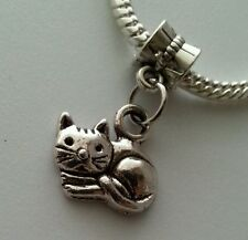 Cat Animal Dangle Charm Beads Fit European Style Bracelet or Lobster Clasp