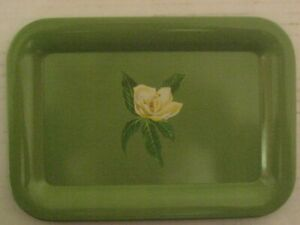 """VINTAGE 8 GREEN FLORAL PAINTED SMALL TRAYS 6.5"""" X 4.5""""--VERY GOOD CONDITION"""