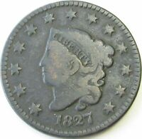 1827 Coronet Head Large Cent in a SAFLIP® - Fine- (VG+)